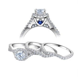 STUNNING 3 Piece White Sapphire Diamond Bridal Set